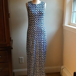 Tart blue and white maxi dress